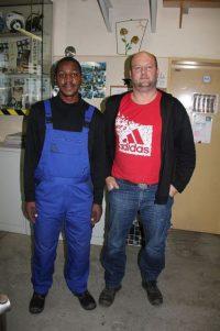mit dem Paedagogischen Leiter Herr Oschem in der Metallwerkstatt Crimmitschau